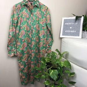 LAUREN Ralph Lauren Green Paisley Shirt Dress